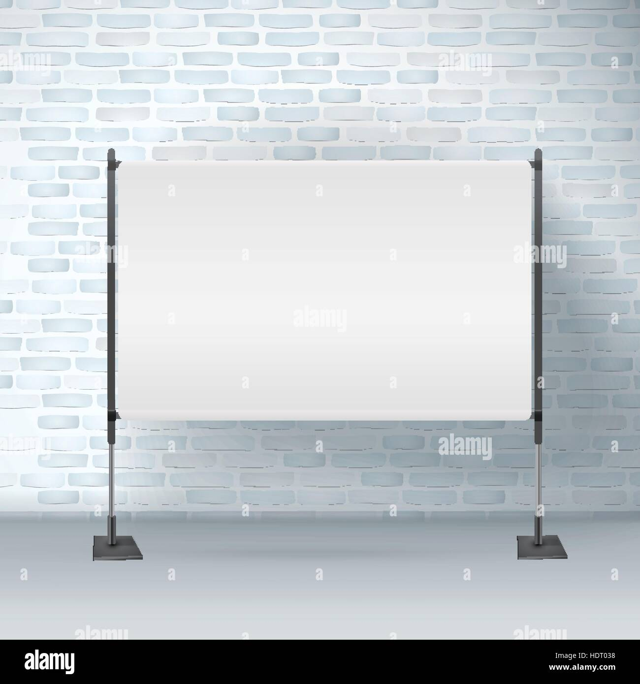 blank projector screen isolated on brick wall Stock Vector Art ...