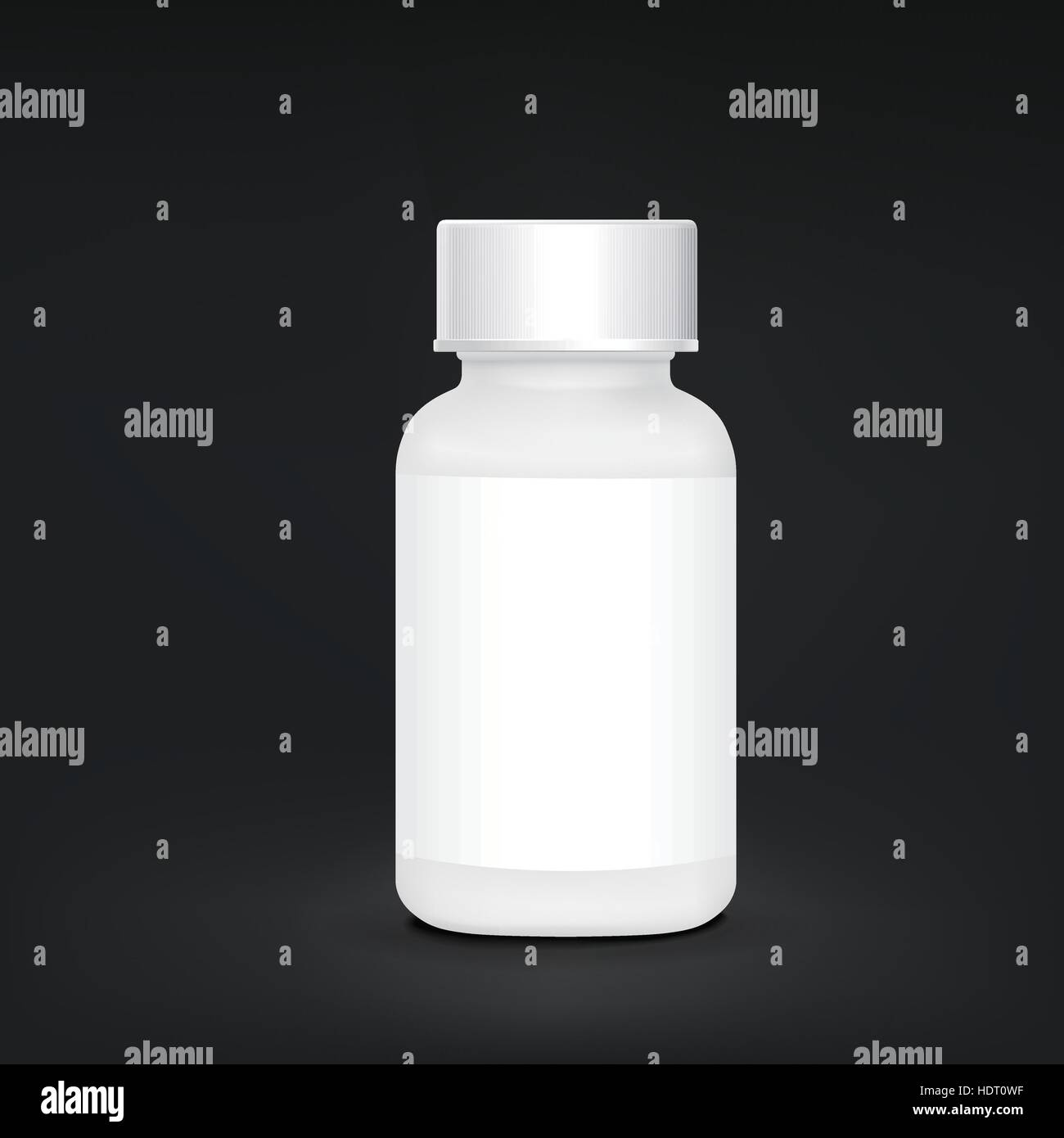 white plastic medical container isolated on black background - Stock Vector