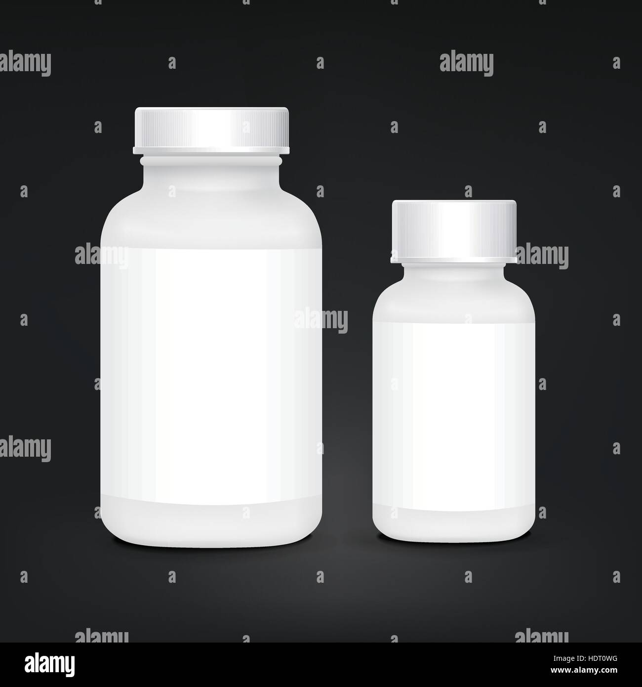 white plastic medical container set isolated on black background - Stock Vector