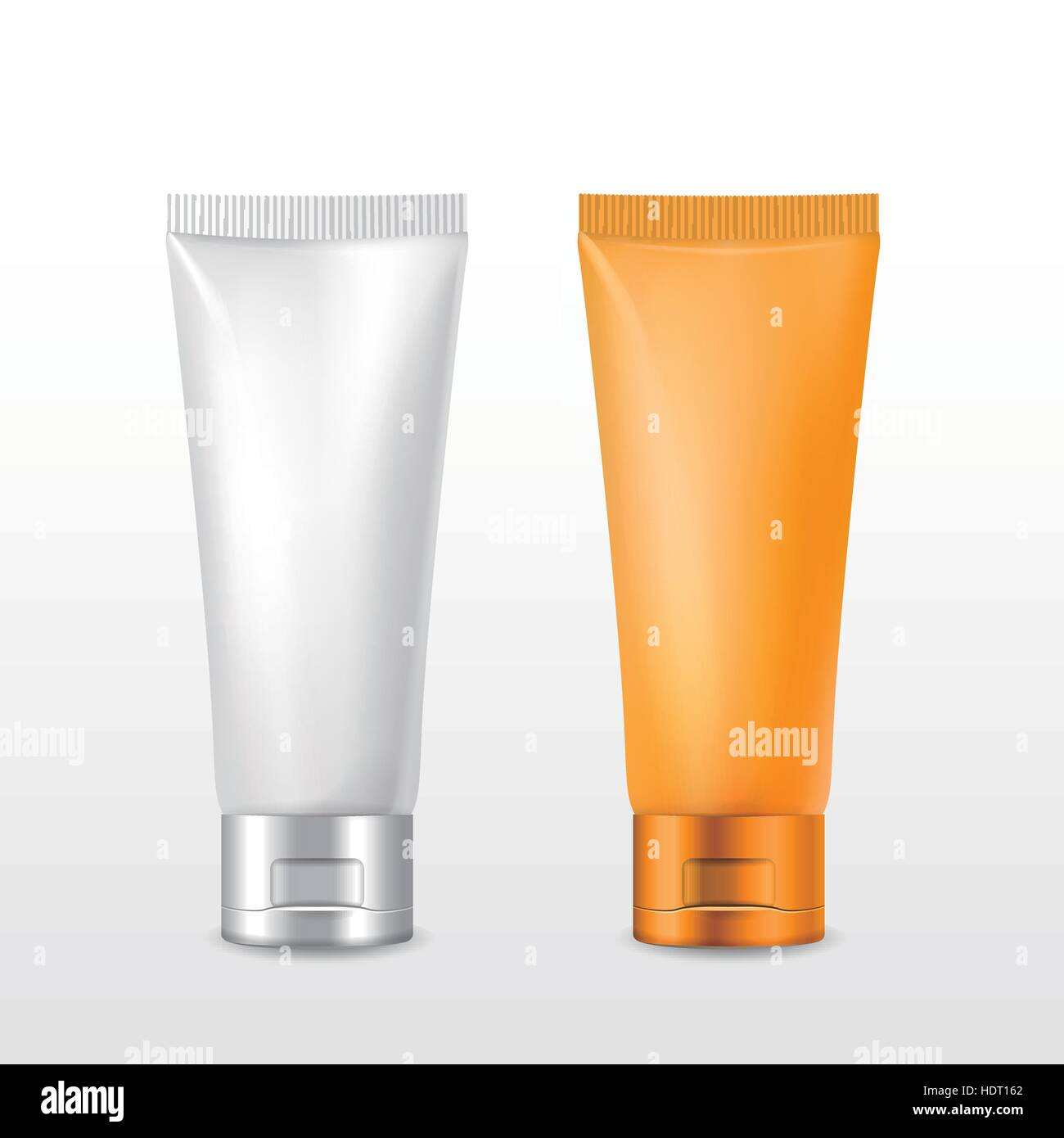 cosmetic packaging tube set over white background Stock