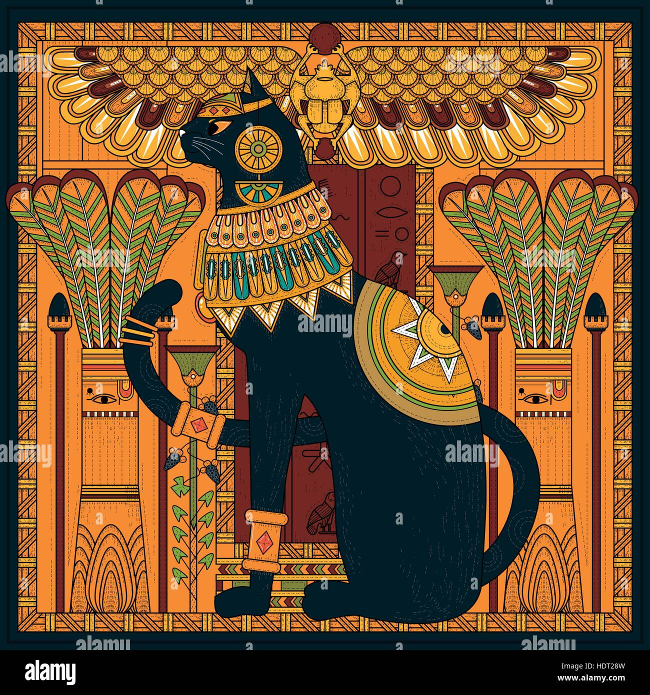 Elegant Cat Coloring Page Design In Egypt Style Stock Vector Art