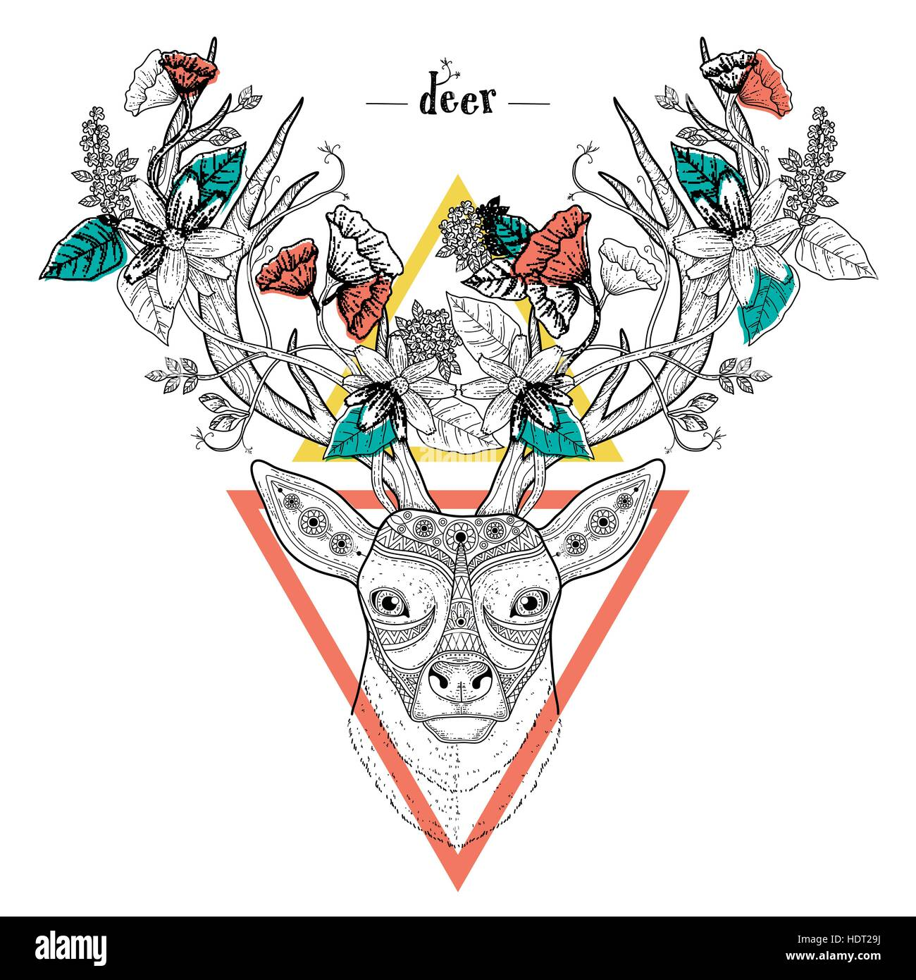 Elegant Deer Head Coloring Page In Exquisite Style