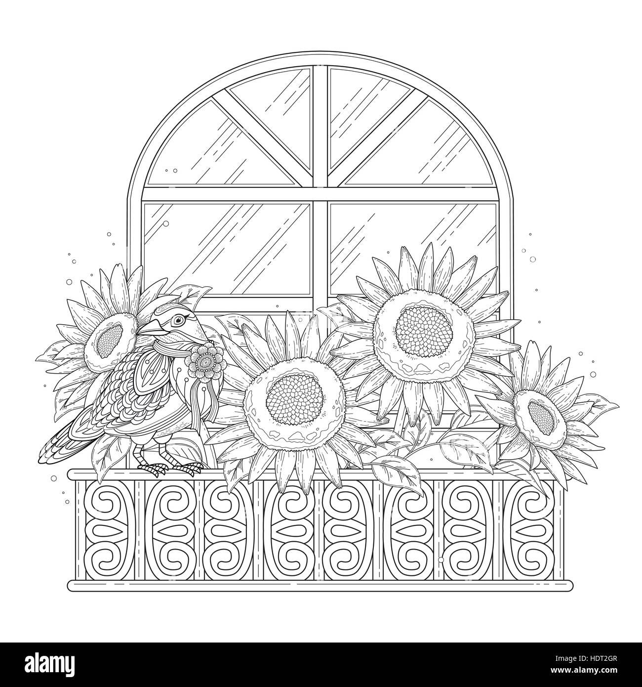 beautiful sunflowers coloring page with floral elements in ...