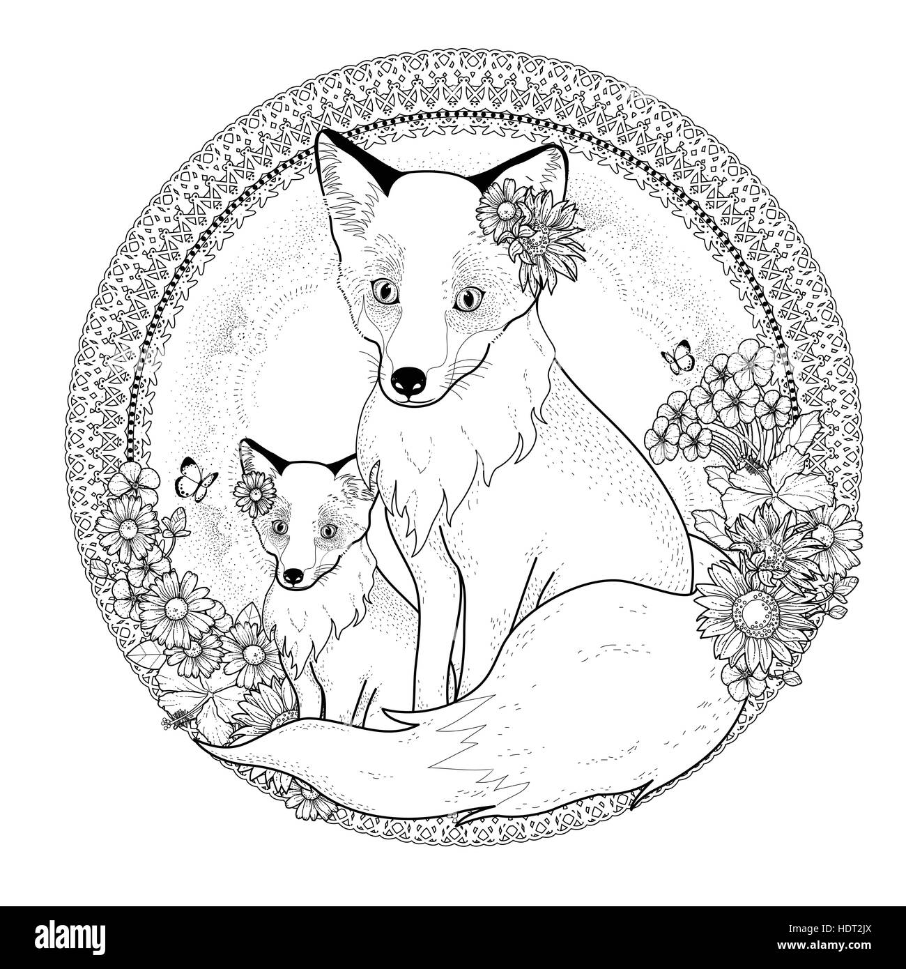 Adorable Fox Coloring Page With Floral Elements In Exquisite Line