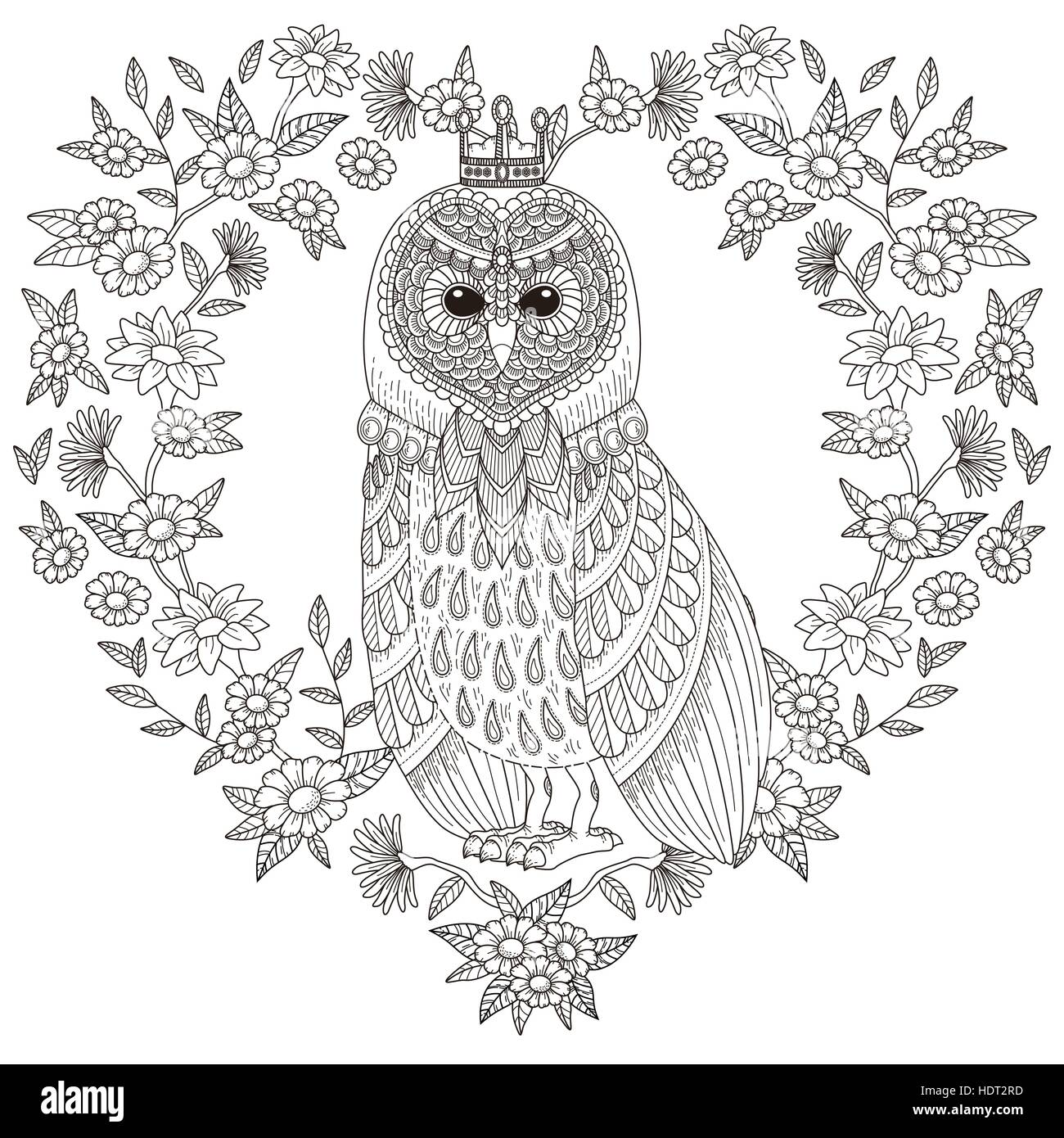 lovely owl coloring page with floral elements in exquisite line HDT2RD