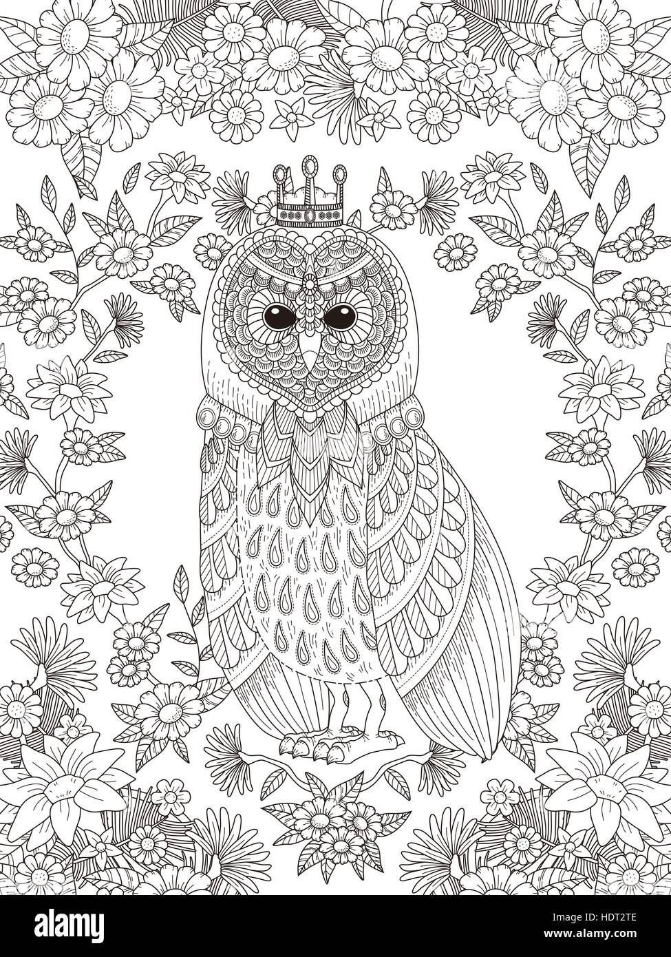 lovely owl coloring page with floral elements in exquisite line HDT2TE