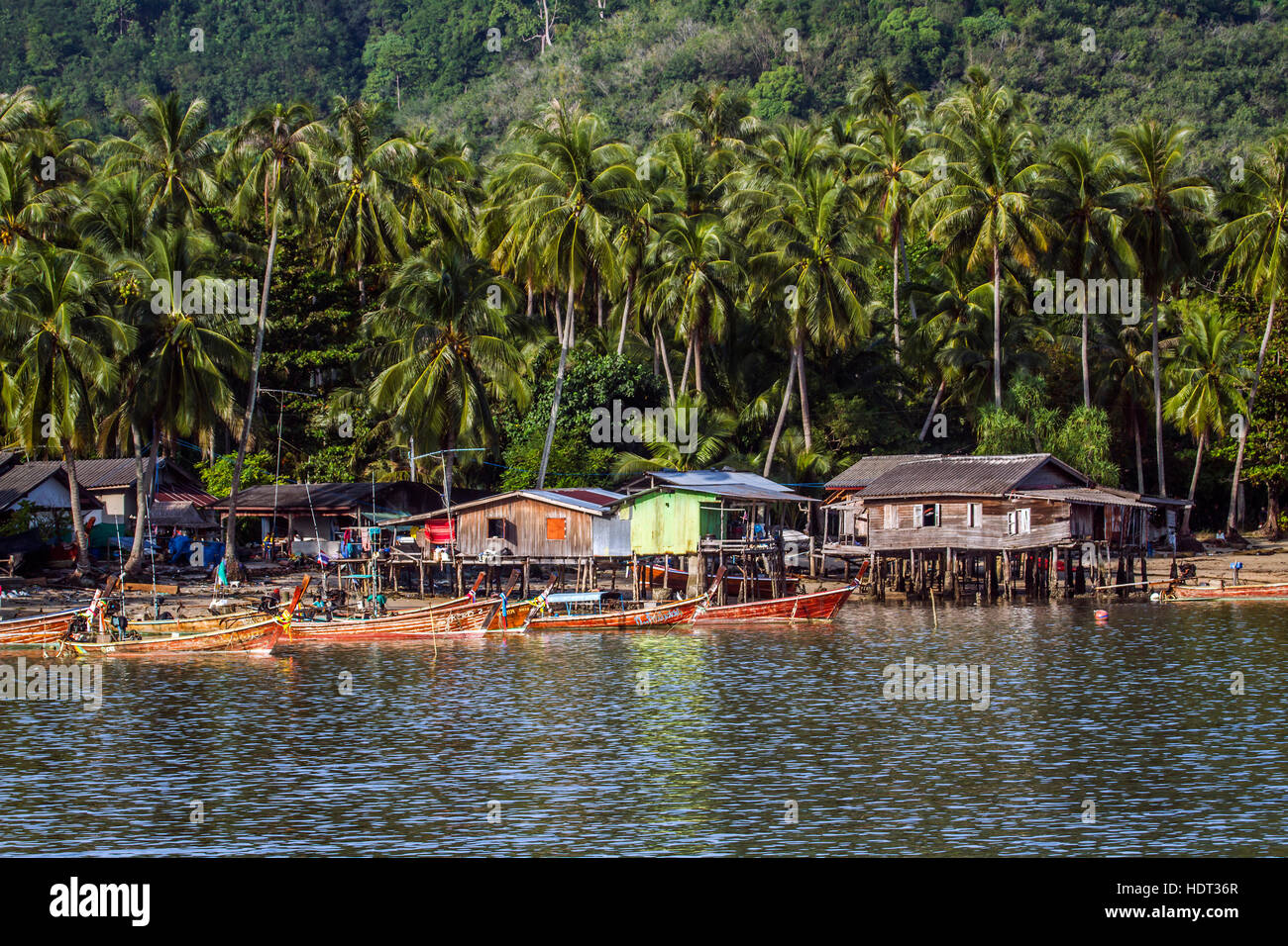Traditional fisherman village in Koh Muk island, Thailand - Stock Image