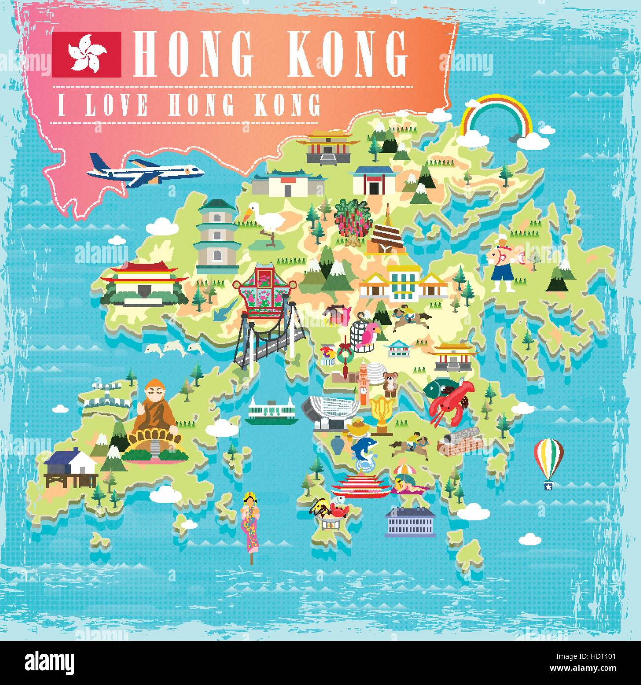 I Hong Kong concept travel map with attractions icons in flat ... Kowloon Map Of Attractions on map of macau attractions, map of hong kong attractions, map of istanbul attractions, map of times square attractions,