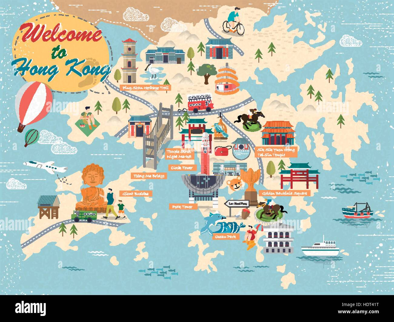 attractive hong kong travel map with attractions icons in. Black Bedroom Furniture Sets. Home Design Ideas
