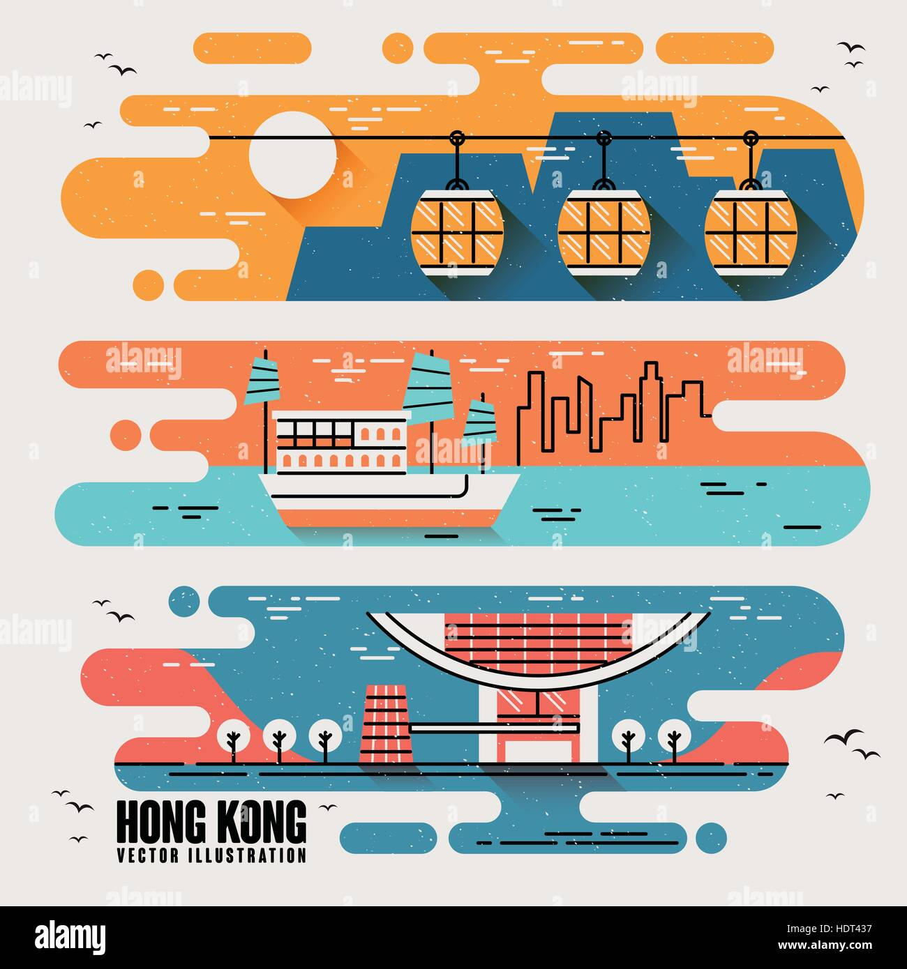 Hong Kong famous attractions in lovely flat design style - Stock Vector