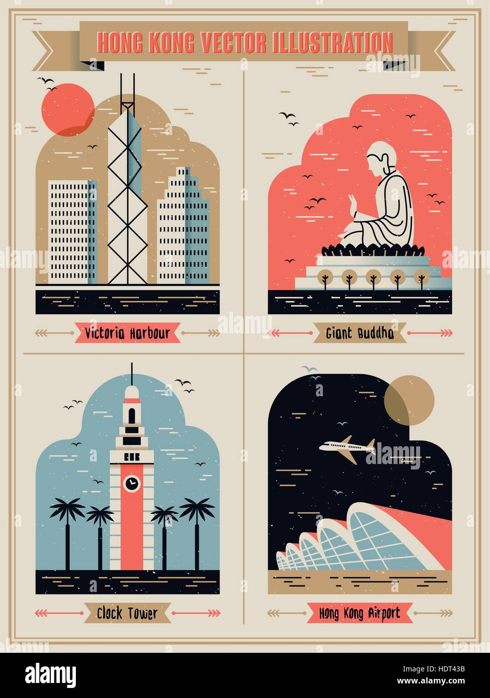 Hong Kong famous attractions set in lovely flat design style - Stock Vector