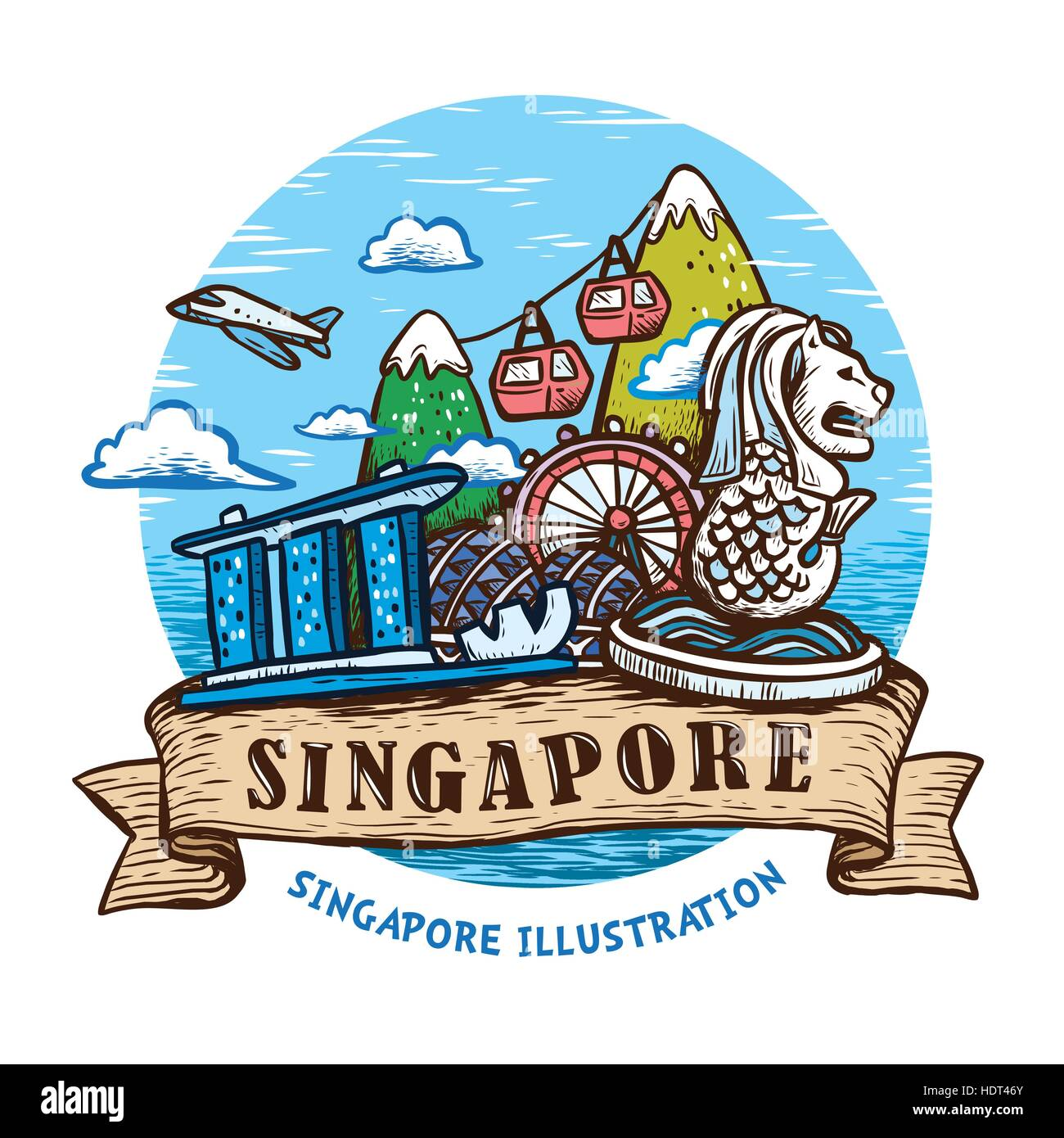 lovely Singapore scenery poster design in hand drawn style - Stock Image