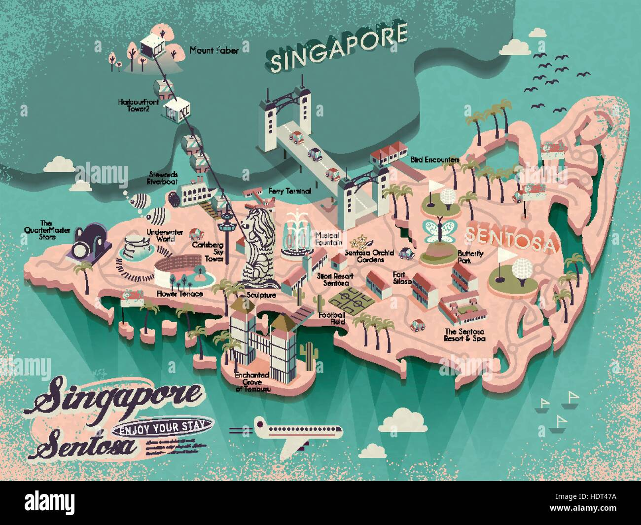 lovely sentosa must see attractions travel map in 3d isometric design stock image