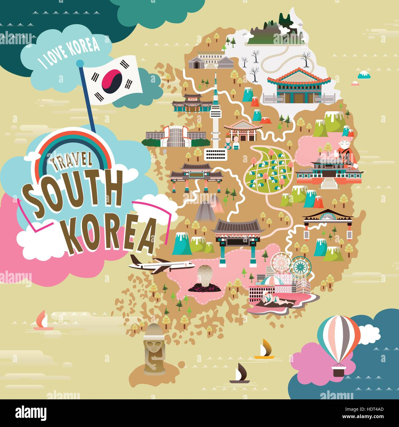 lovely south korea travel map in flat style stock vector. Black Bedroom Furniture Sets. Home Design Ideas