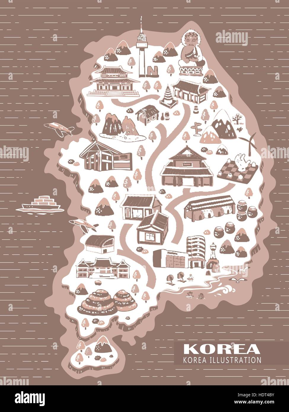 lovely Korea travel concept map in hand drawn style Stock Vector