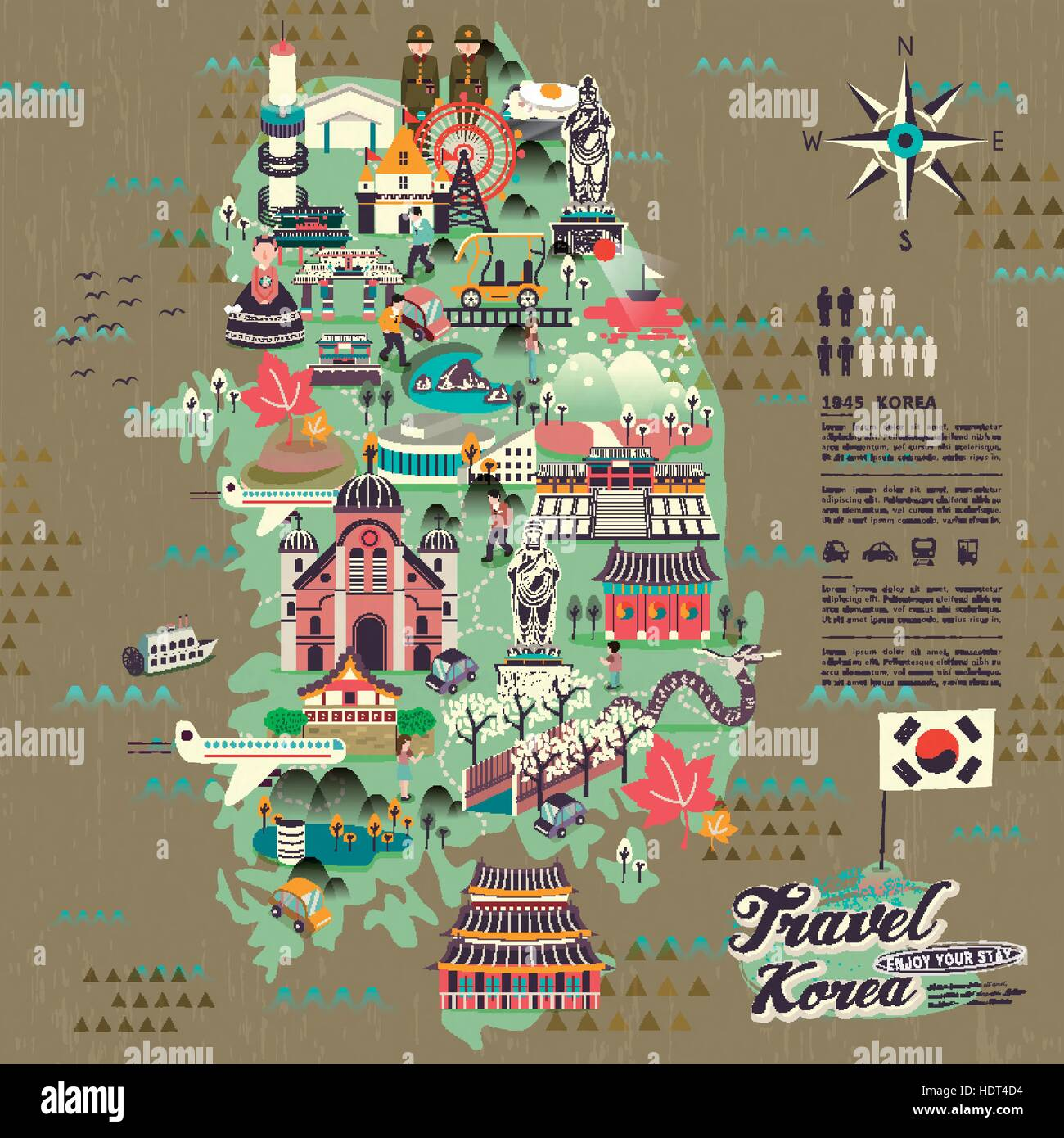 wonderful South Korea travel map with attractions design Stock