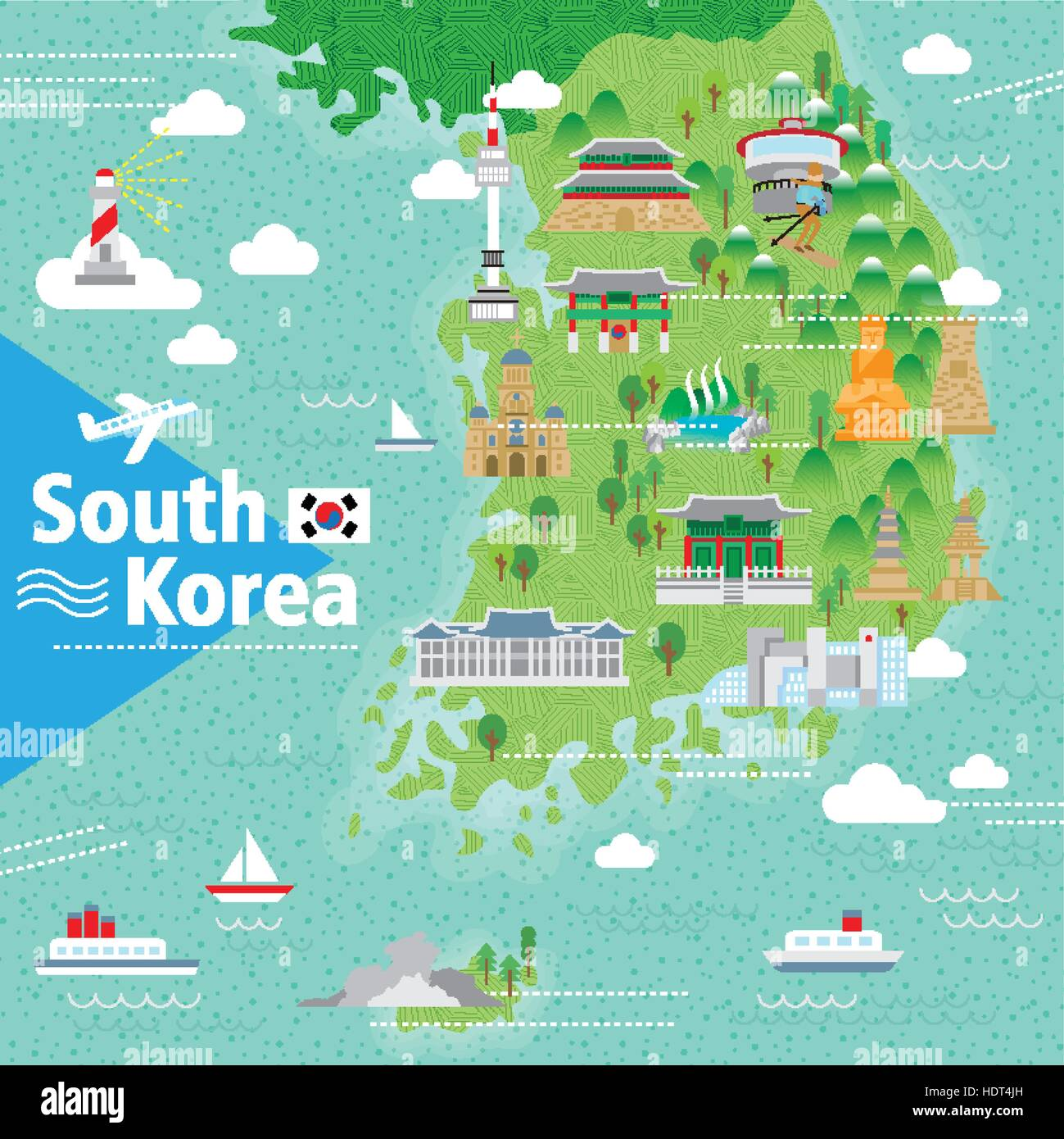 adorable South Korea travel map with colorful attractions Stock