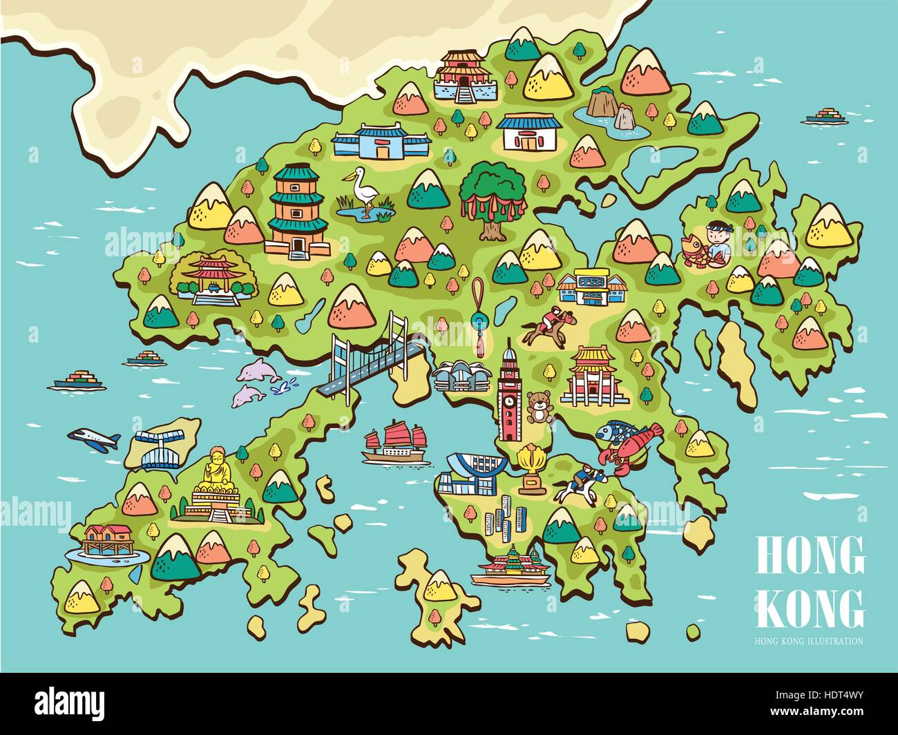 lovely hand drawn Hong Kong travel map Stock Vector Art