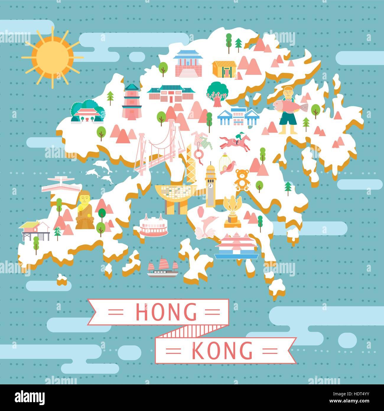 lovely Hong Kong map design in flat style Stock Vector Art