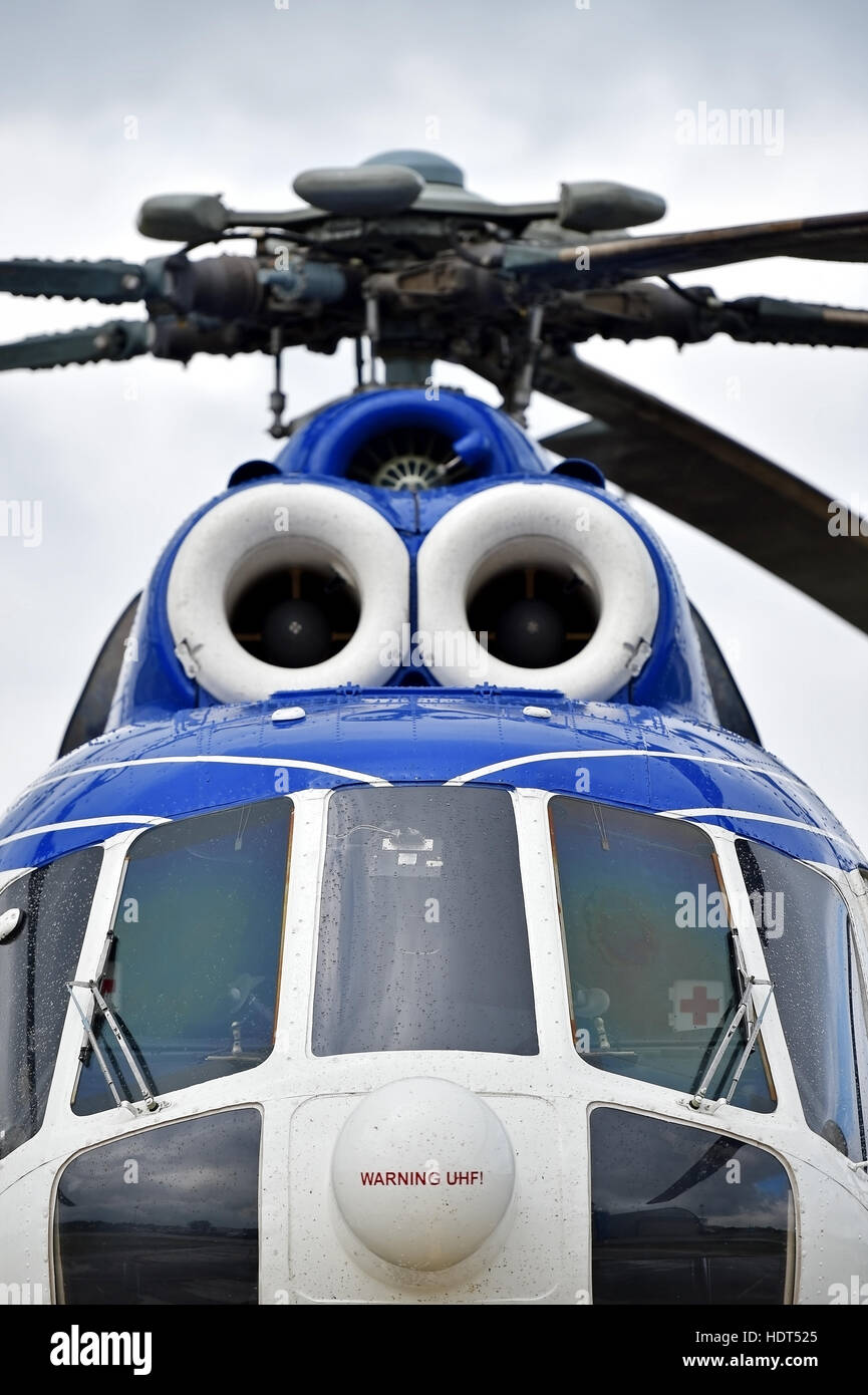 Detail with helicopter fuselage and rotor blade system - Stock Image