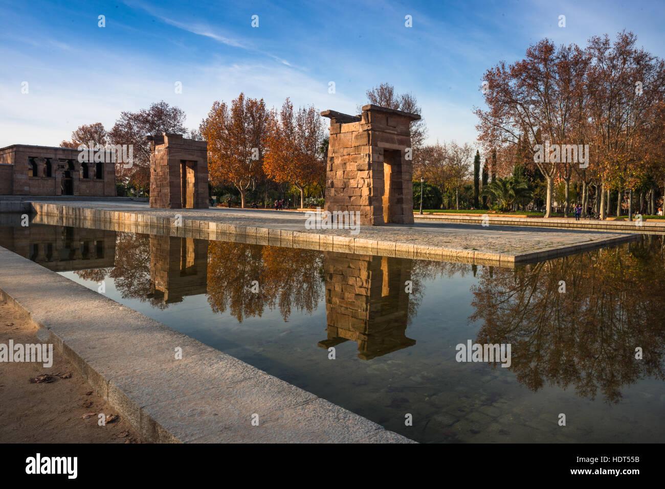 Temple of Debod. Parque del Oeste, Madrid Spain. Stock Photo
