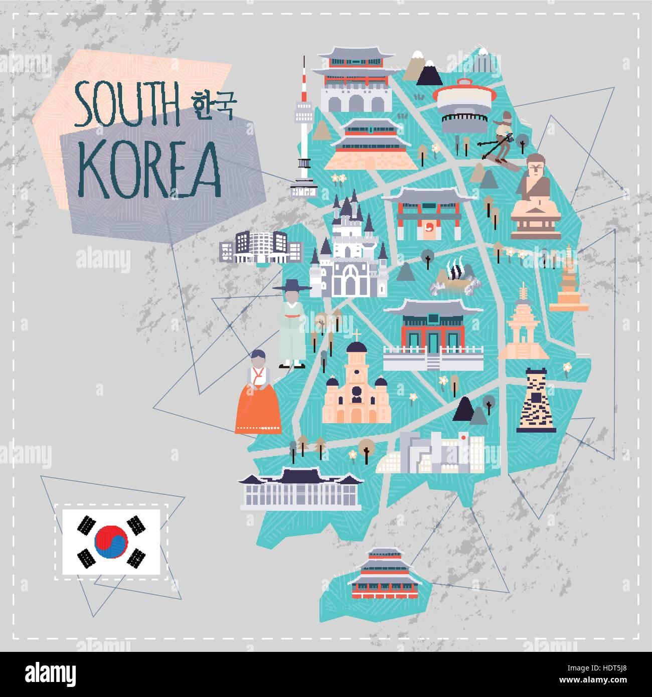 lovely South Korea travel map in flat style Korea in Korean words