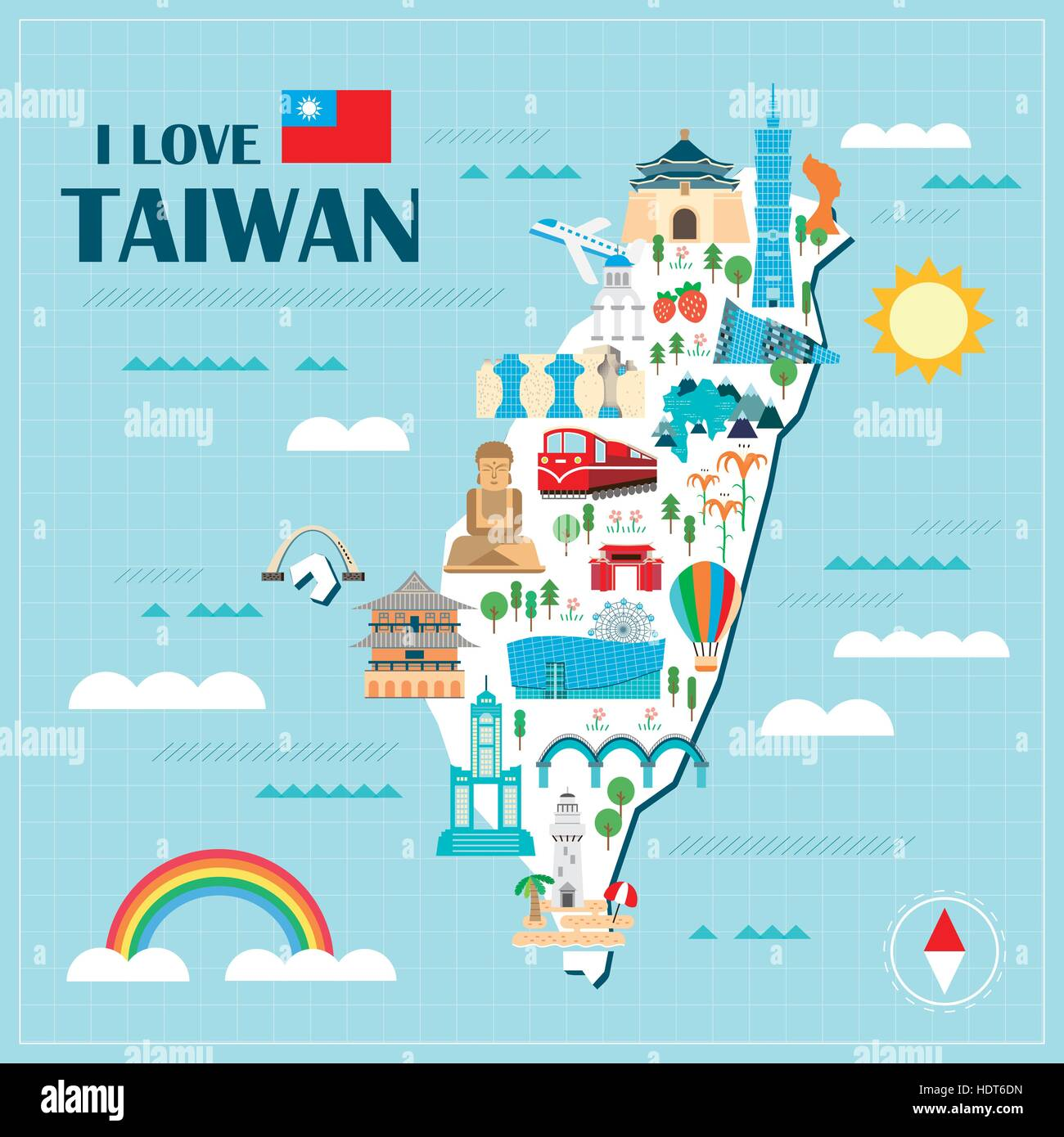 lovely Taiwan travel map design in flat style Stock Vector Art