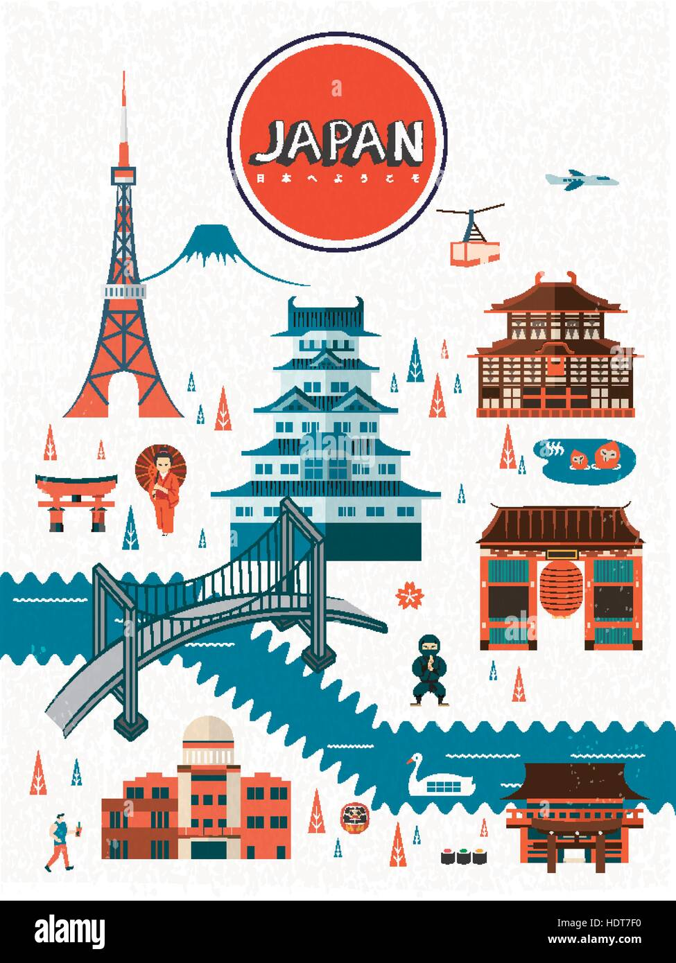 Exquisite Japan Travel Poster Design Welcome To Japan In Japanese Stock Vector Image Art Alamy