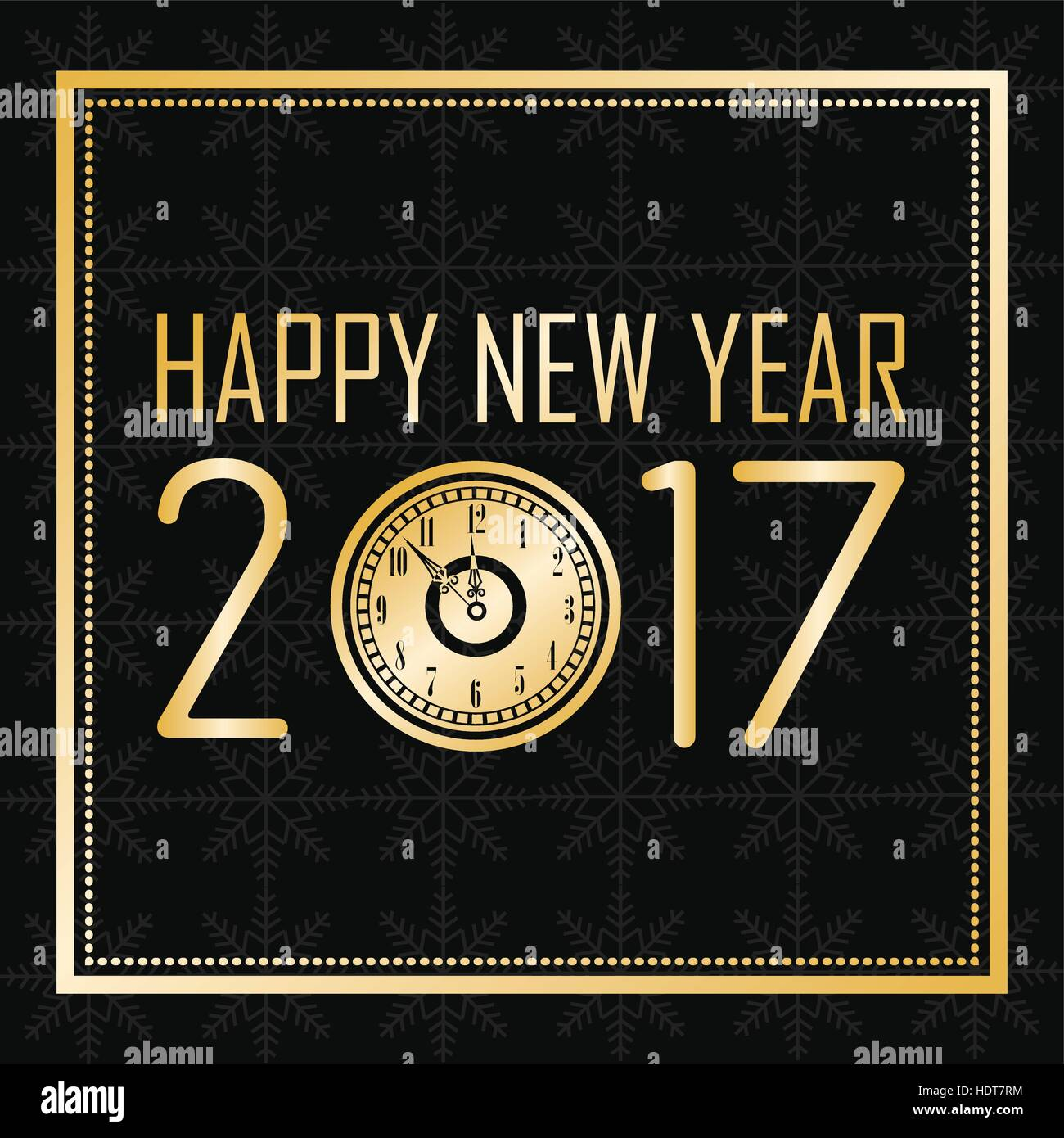 Happy New Year 2017 Greeting Card Gold Clock Frame