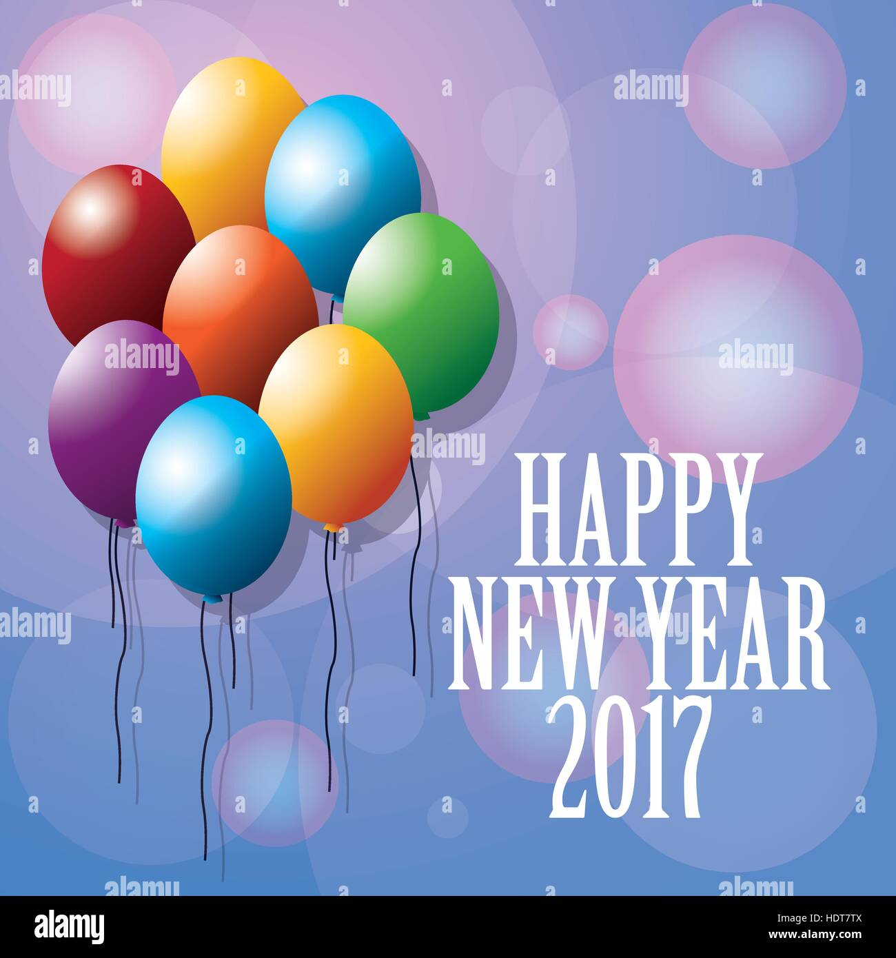 happy new year 2017 greeting card ed balloons blurred background - Stock Vector