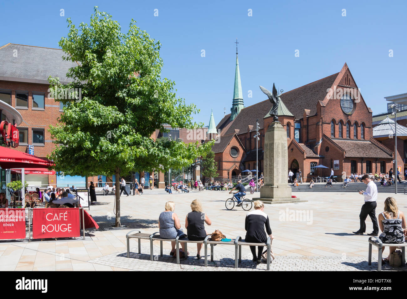 Woking Town Square showing War Memorial and Christ Church, Woking, Surrey, England, United Kingdom - Stock Image