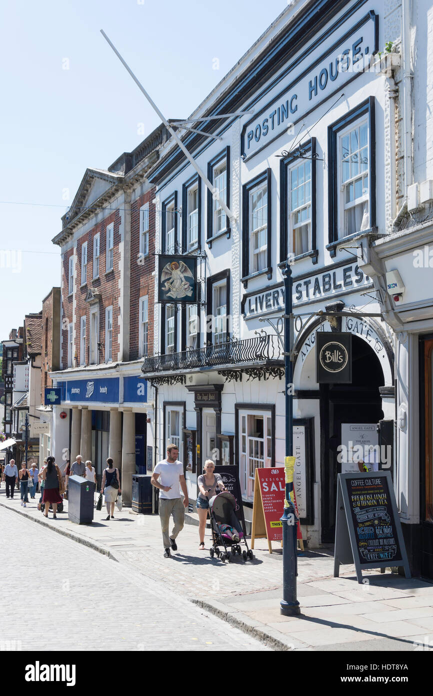 16th century The Angel Hotel and Gate, High Street, Guildford, Surrey, England, United Kingdom - Stock Image
