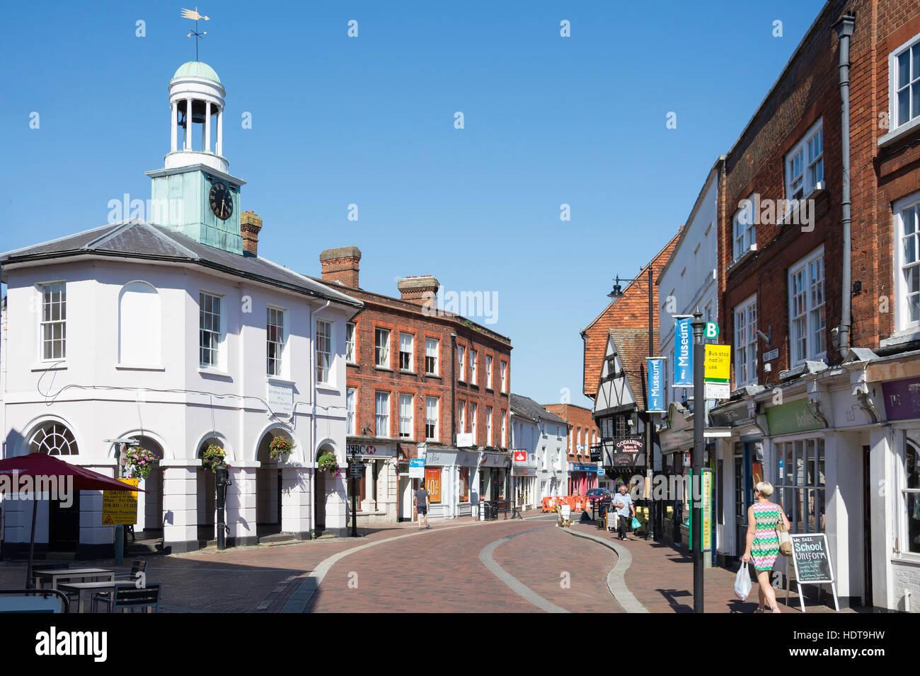 The 'Pepperpot' Clock Tower, High Street, Godalming, Surrey, England, United Kingdom - Stock Image