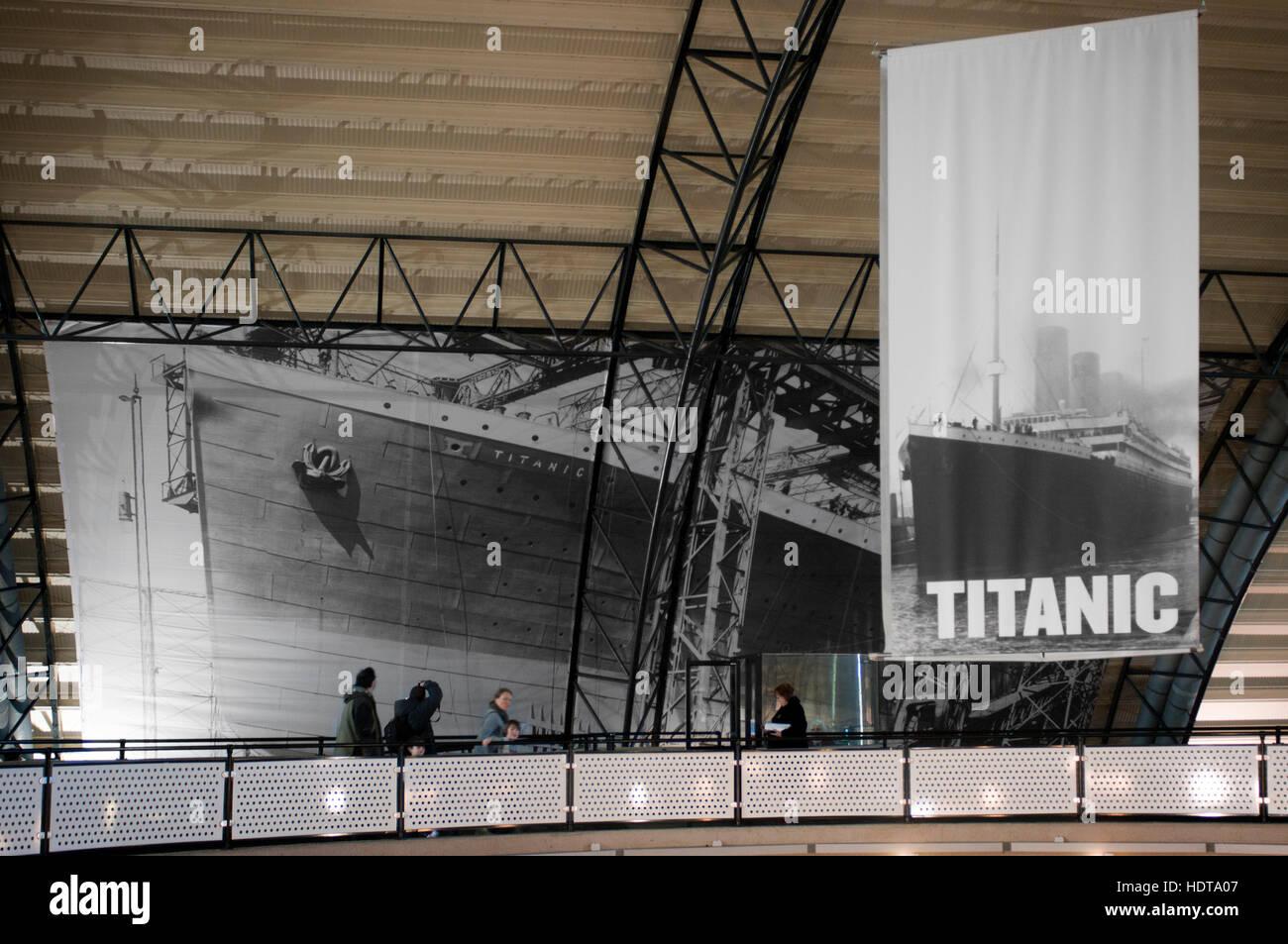 Inside Titanic Belfast museum and Visitors Centre, Titanic Quarter, Belfast, Northern Ireland, UK. Titanic Belfast - Stock Image
