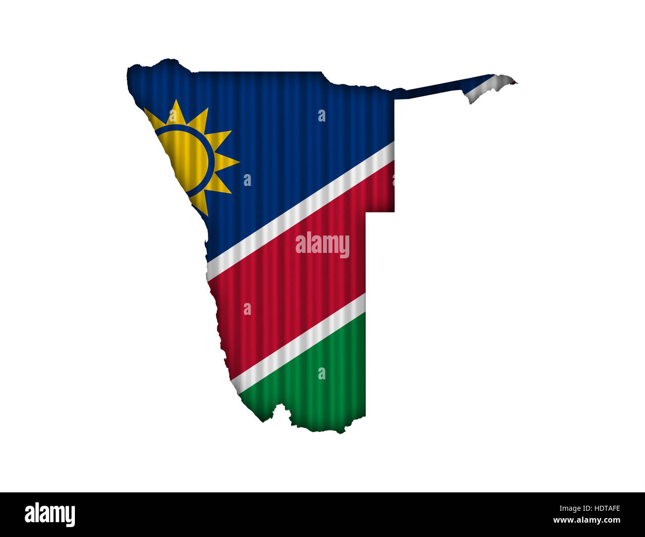 Map and flag of Namibia on corrugated iron - Stock Image