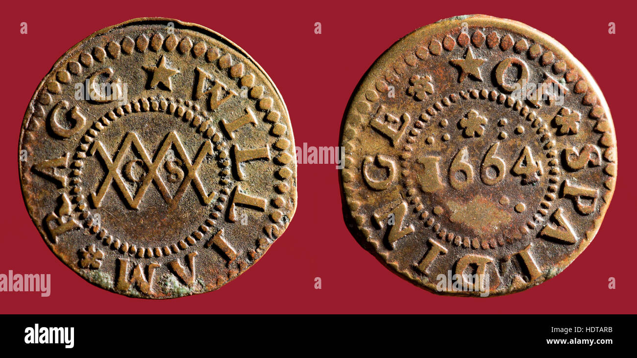 17th Century Lincolnshire Trader's Tokens. - Stock Image