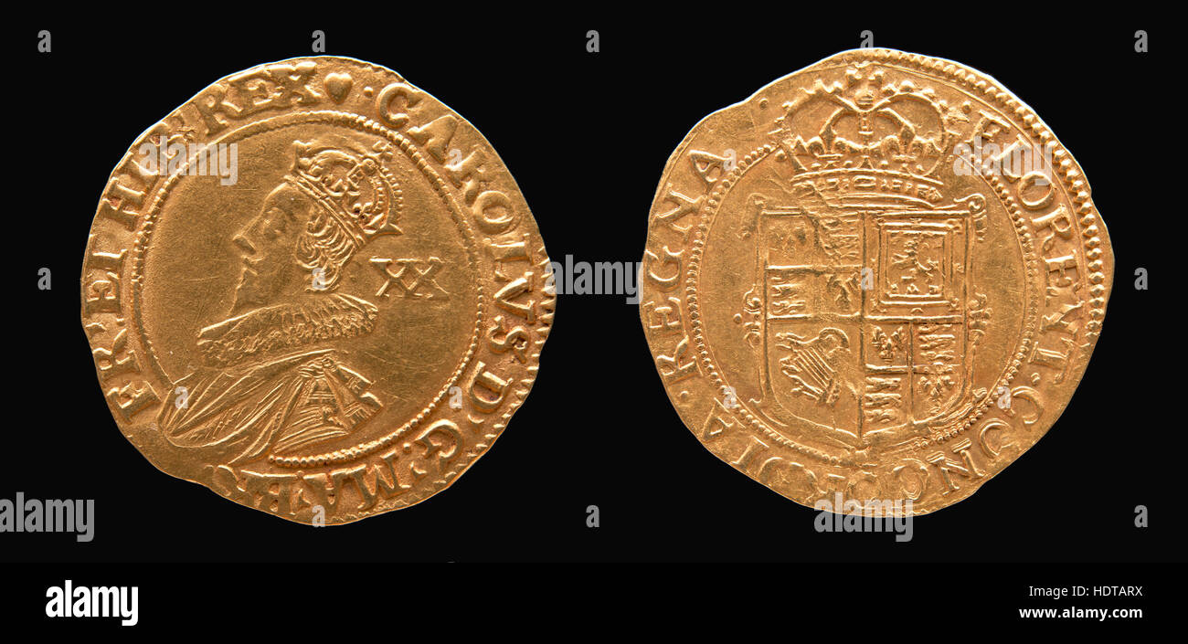 Gold coin (Unite) of Charles 1st. 162-1649 mint mark Tower group 111  3a. Spink 2758. - Stock Image