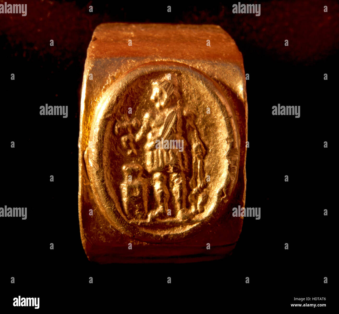 Roman gold ring of Vulcan god of fire. - Stock Image