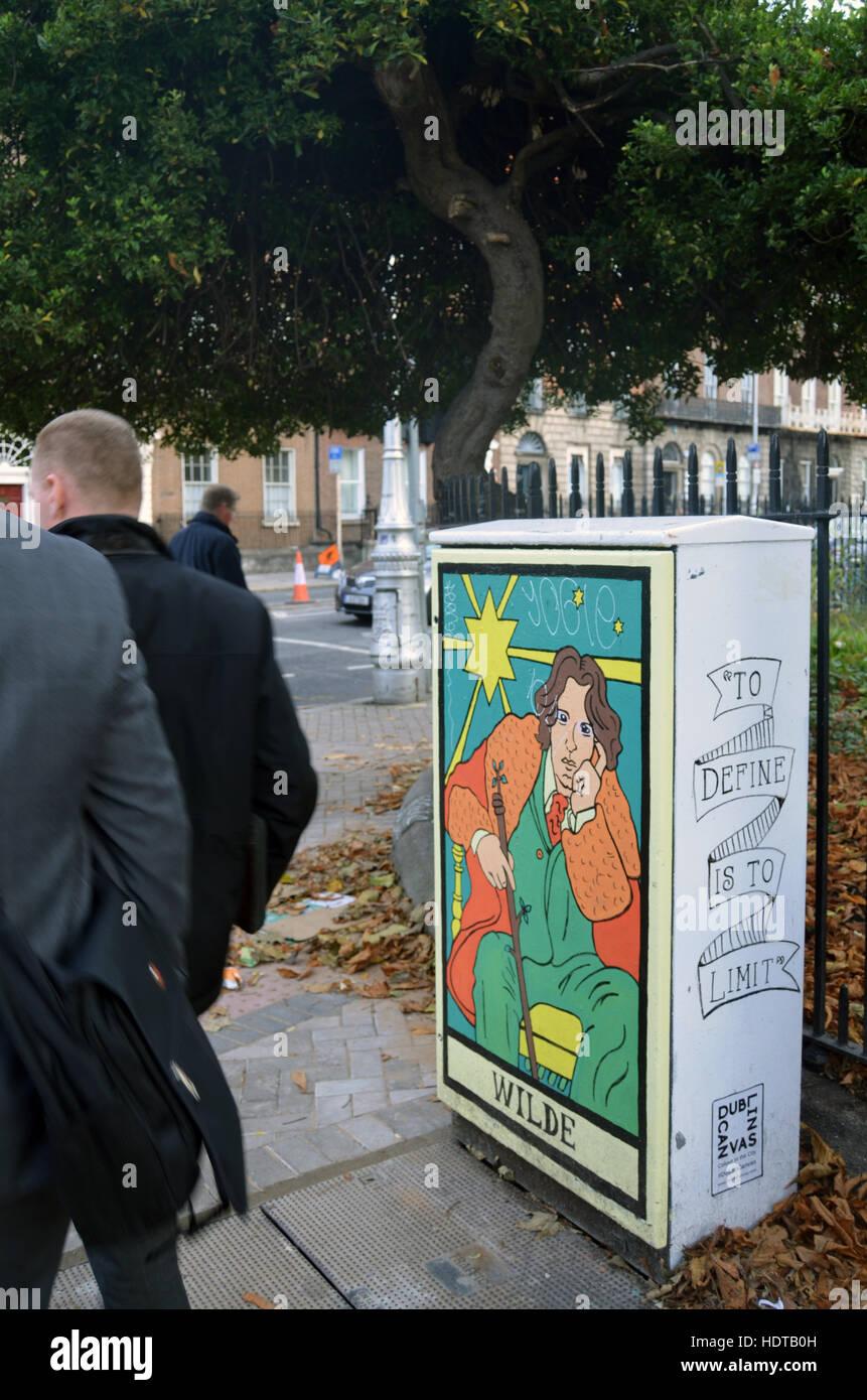 Oscar Wilde street art, Dublin Ireland - Stock Image