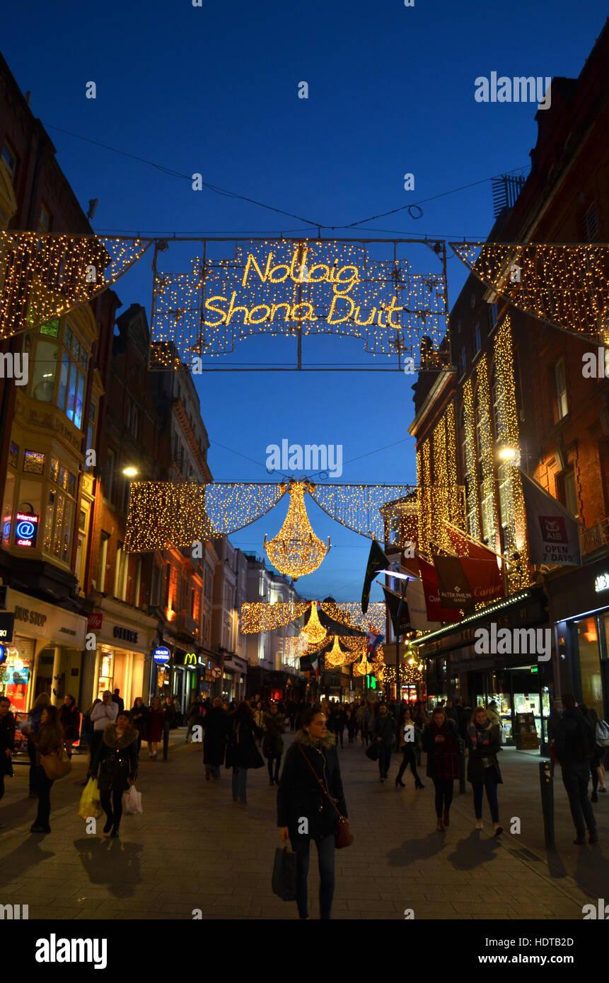 Christmas lights in Grafton Street, Dublin, Ireland Nov 2016 - Stock Image