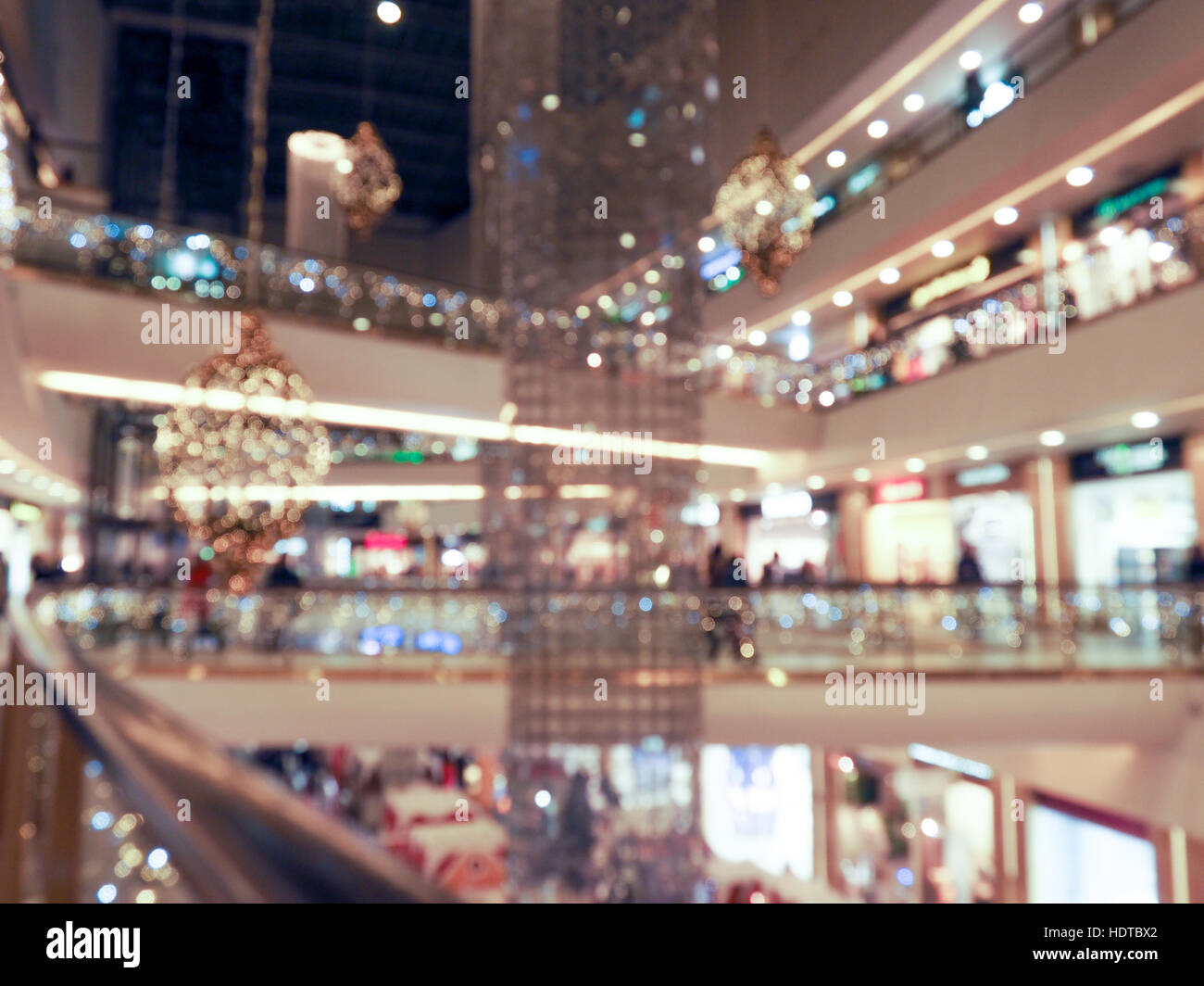Time of Christmas sales, shopping center, festively decorated. blurred background - Stock Image