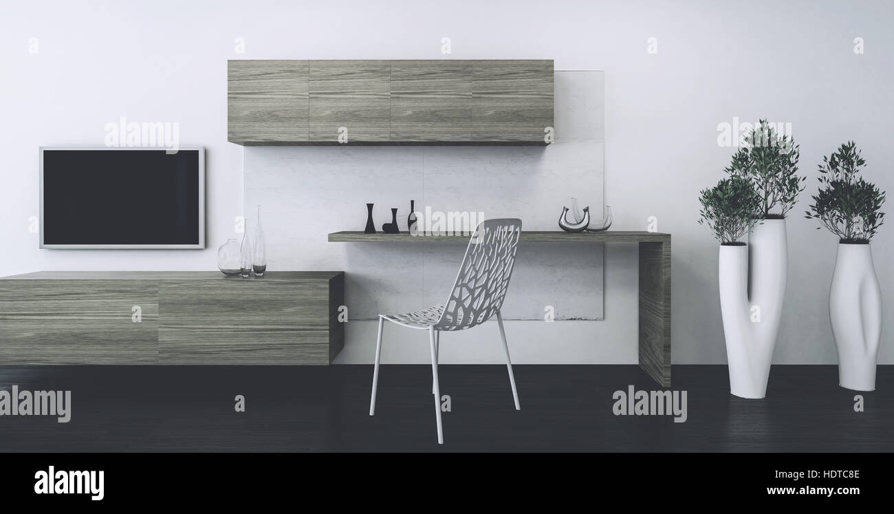 Hipster wooden writing table and chair with wall mounted cabinets ...