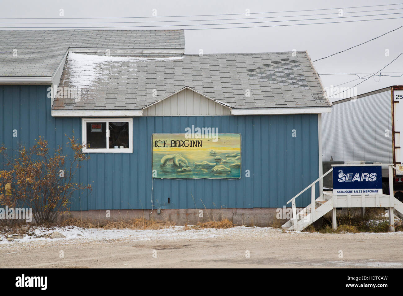 Entrance to the Ice Berg Inn at Churchill, Canada. - Stock Image