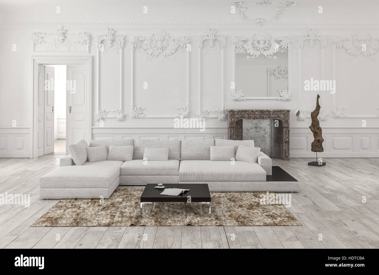 Classical White 3d Rendered Monochrome Living Room Interior With Wainscoting  And Wood Panelling On The Walls And Ornate Stucco Moldings Furnished With
