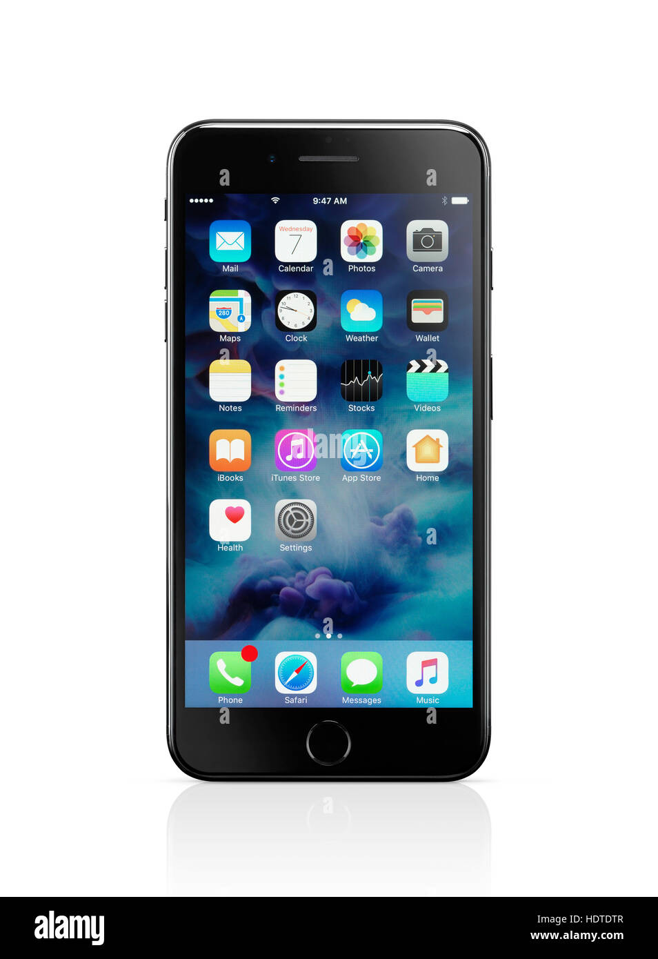 apple iphone 7 plus black with desktop icons displayed stock photo