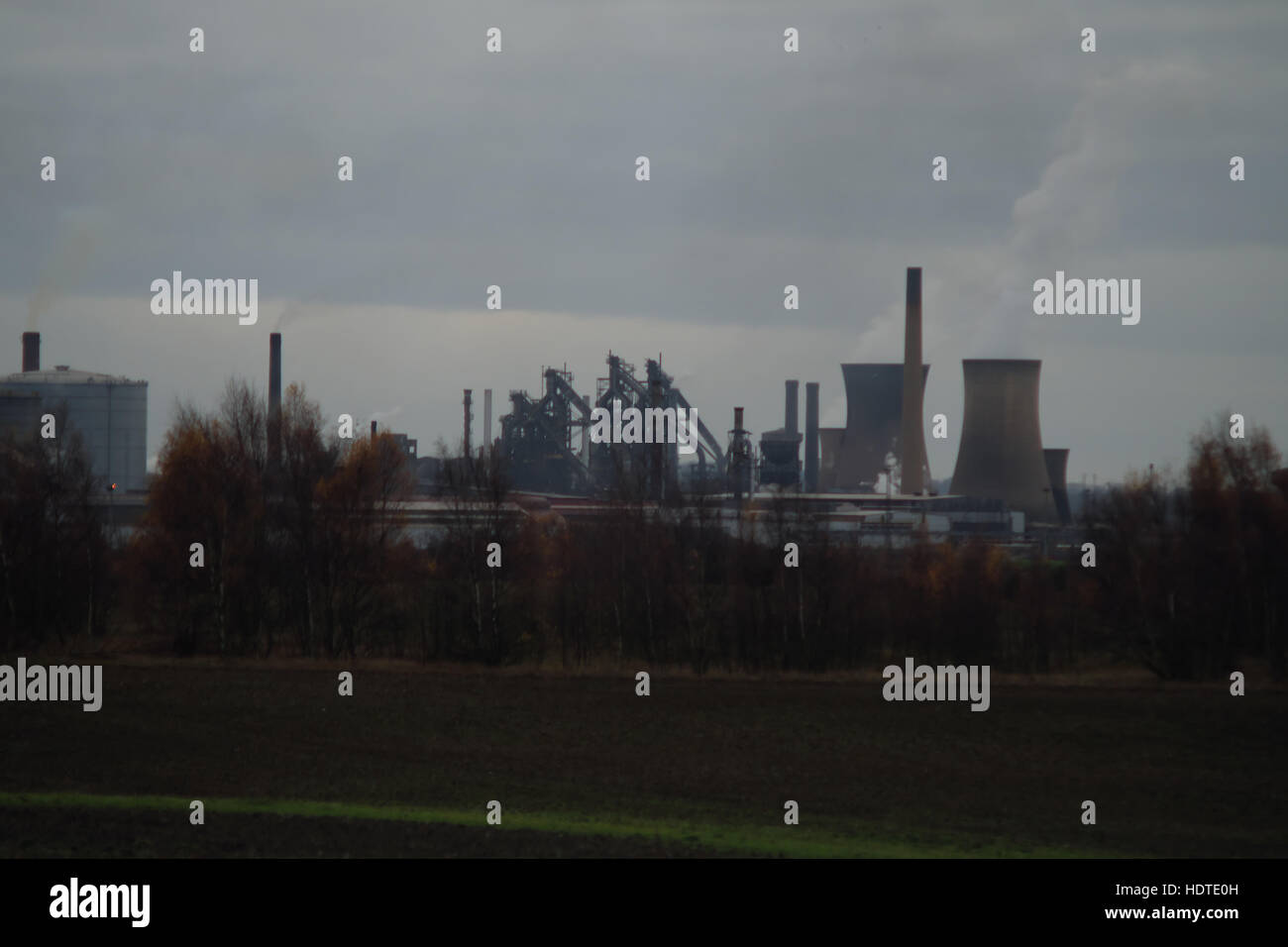 The British Steel works in Scunthorpe, recently acquired from Tata Steel, seen from the north in December 2016. - Stock Image
