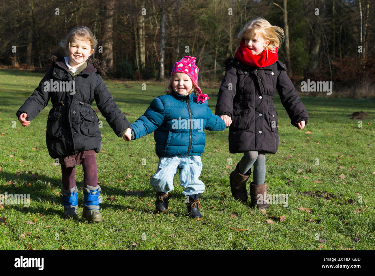 Three sisters: girls age 4, 2 & 6 years, four, two, and six year old ...