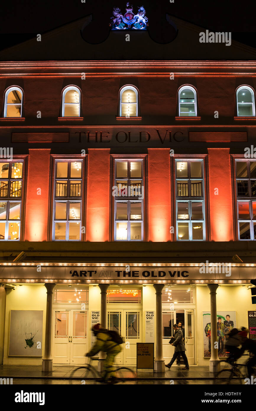 The Old Vic theatre London at night - Stock Image