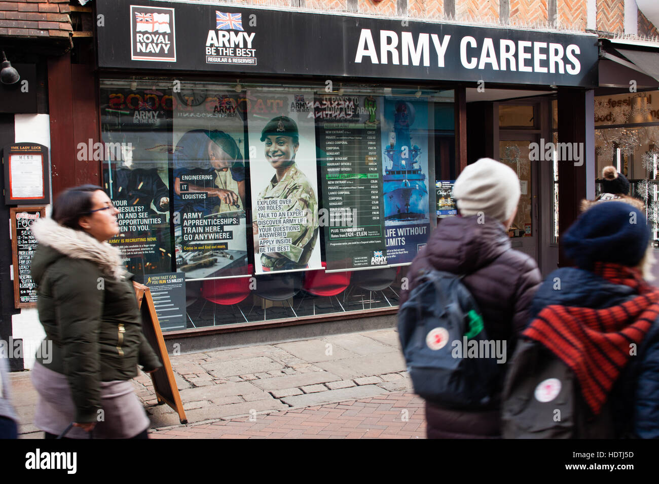 people passing by  of Army Careers recruiting office,  Canterbury, UK - Stock Image