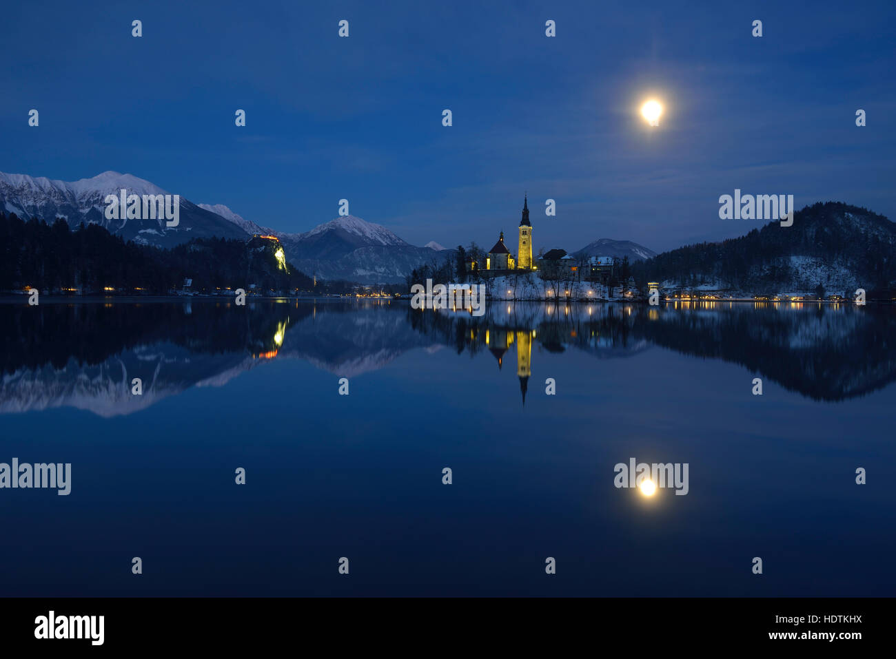 Lake Bled At Dusk In Winter Julian Alps Slovenia Stock